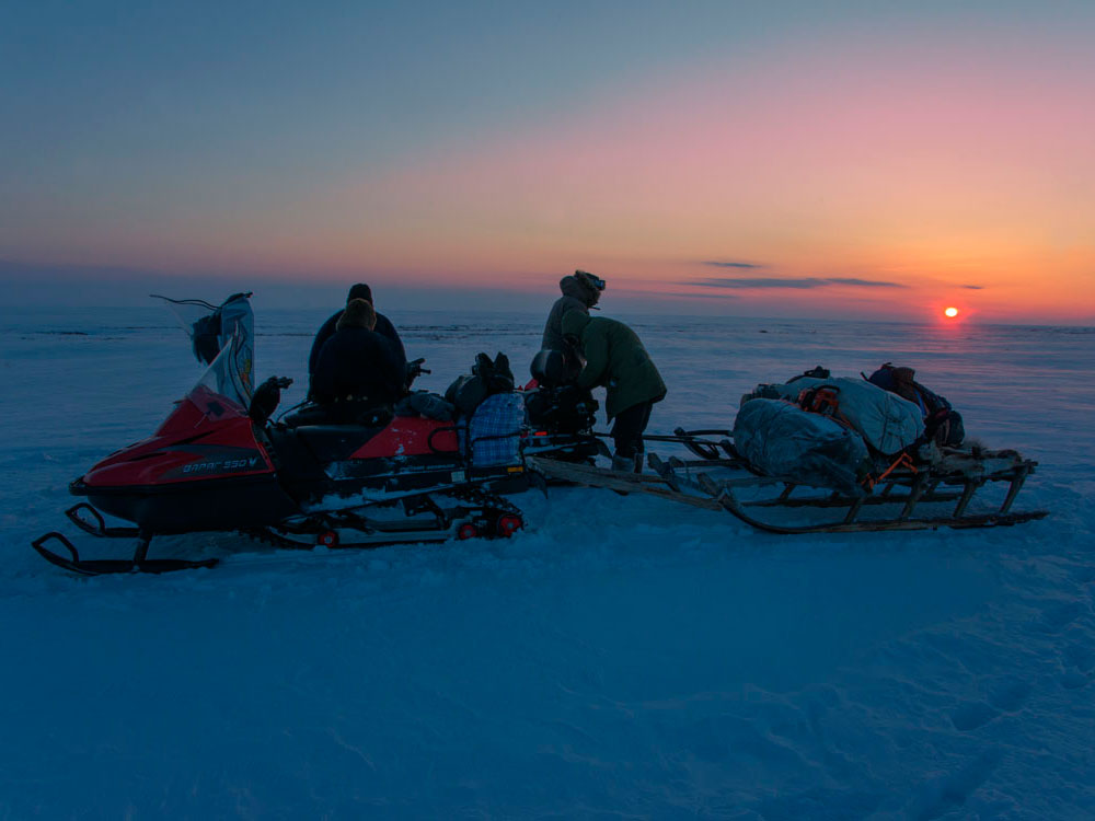 Sunset in the arctic tundra on the way to the source of Pym-Va Shor