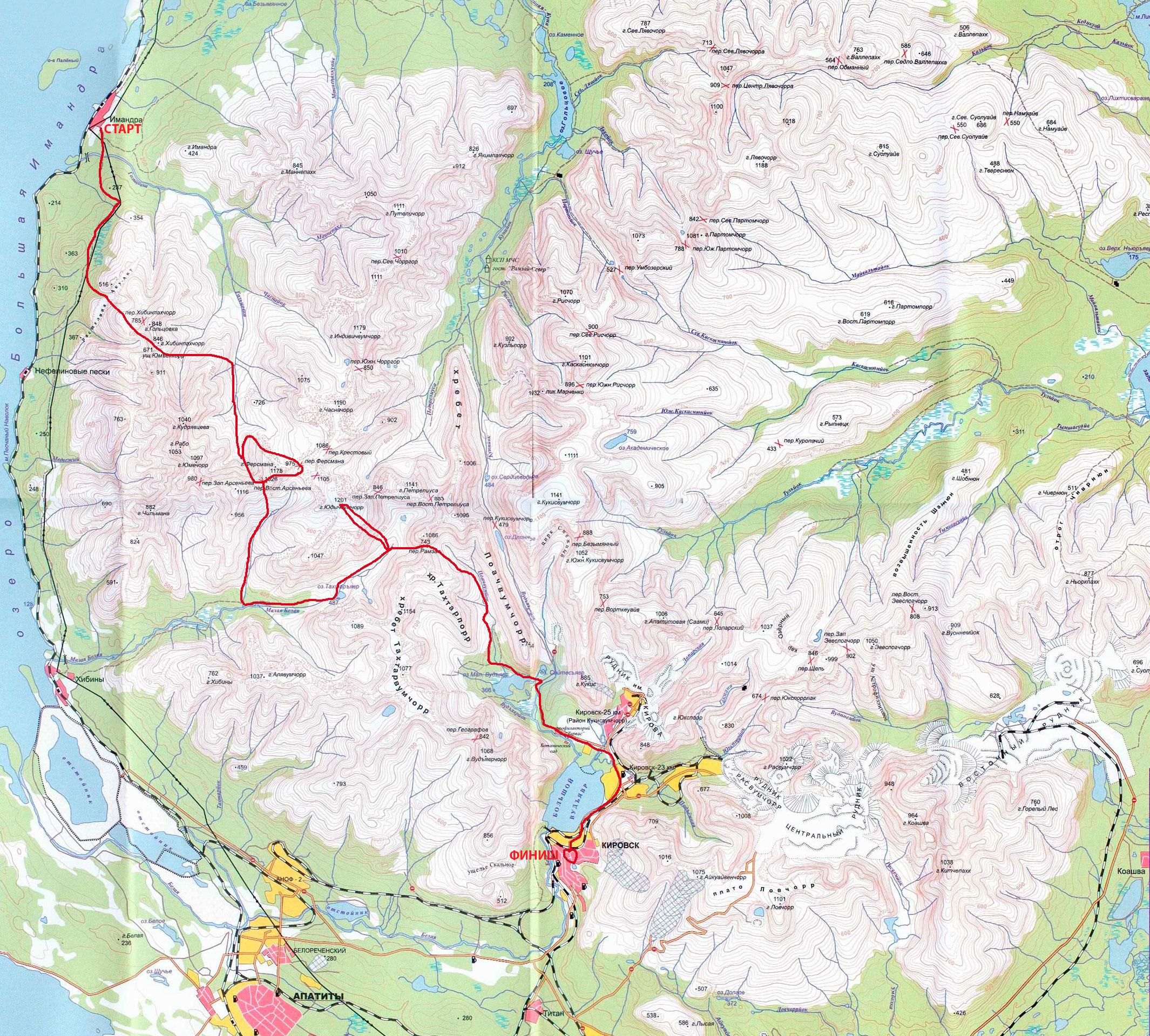 Карта похода по Хибинам