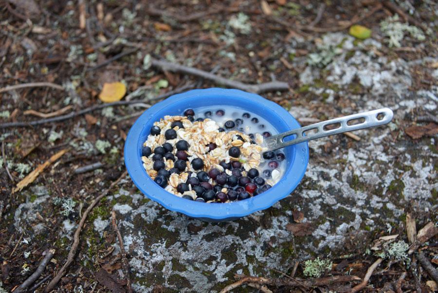 Овсяная каша с черникой на завтрак